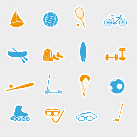 summer sports and equipment stickers