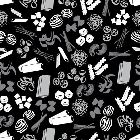 파스타 식품 검은 색과 회색 패턴의 종류 일러스트