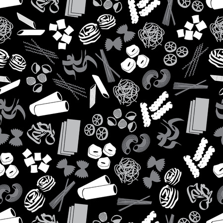types of pasta food black and gray pattern Vector