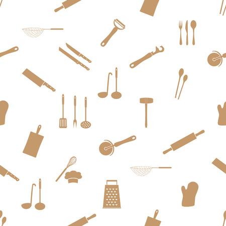 home kitchen cooking utensils seamless pattern