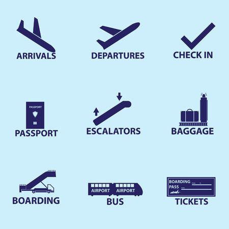 arrivals: airport signs icons