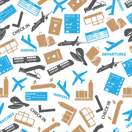 arrivals: airport icons color seamless pattern