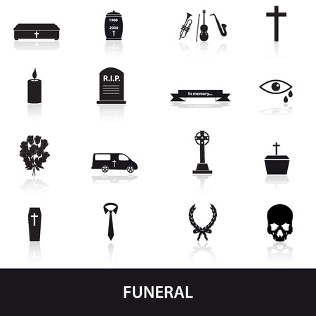 hearse: funeral icons set Illustration