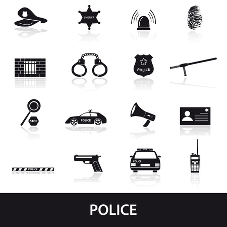 police tape: police icons set  Illustration