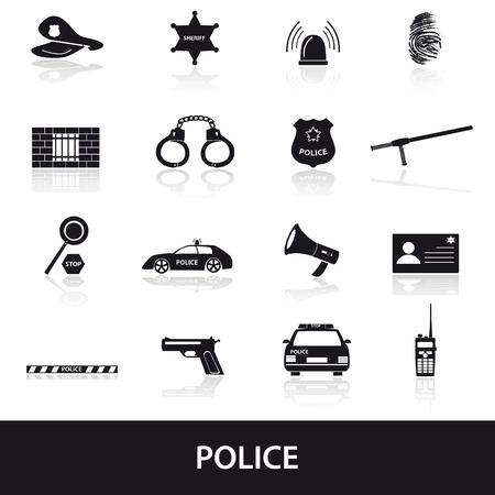 Polizei Symbole gesetzt Illustration