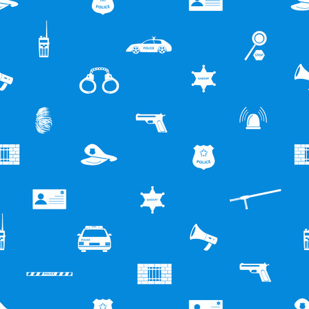 police icons blue and white seamless pattern  Vector