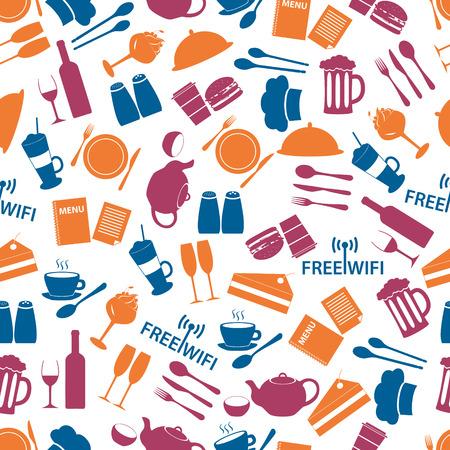 salt free: restaurant and pub color seamless pattern