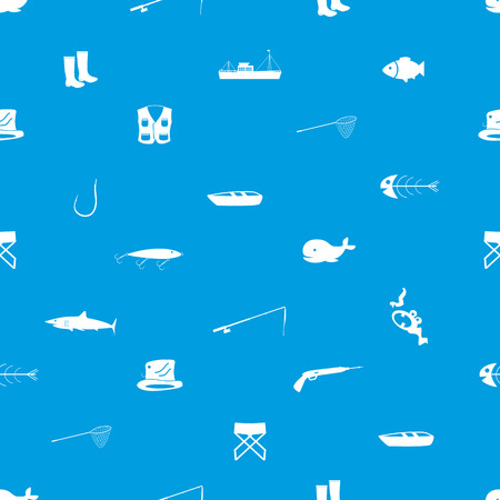 fishing icons blue and white seamless pattern  Vector