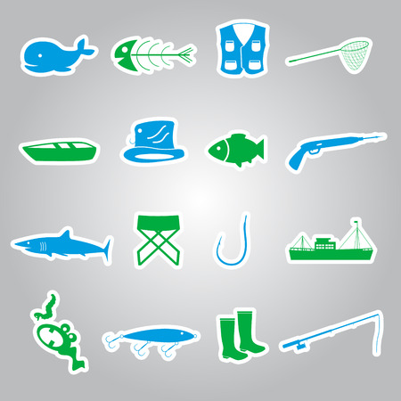 fishing stickers set  Vector