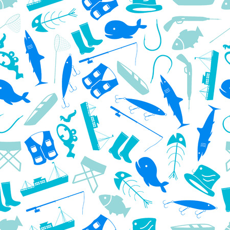 fishing icons blue and white pattern  Vector