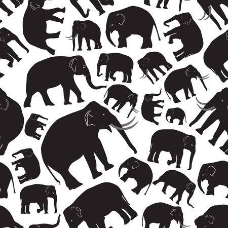 black mammoth: black vector elephants seamless pattern