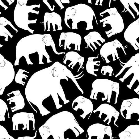 black mammoth: white vector elephants seamless pattern
