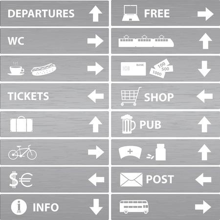 various silver navigation signs  Vector