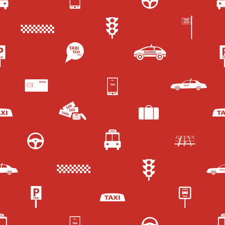 taxi icons red seamless pattern  Vector