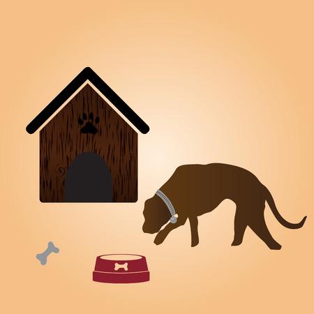 mamal: one dog and doghouse Illustration