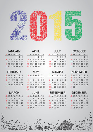0 1 year: 2015 wall calendar from numbers