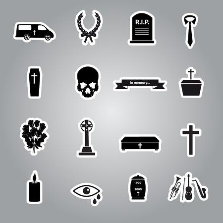 funeral stickers set Vector