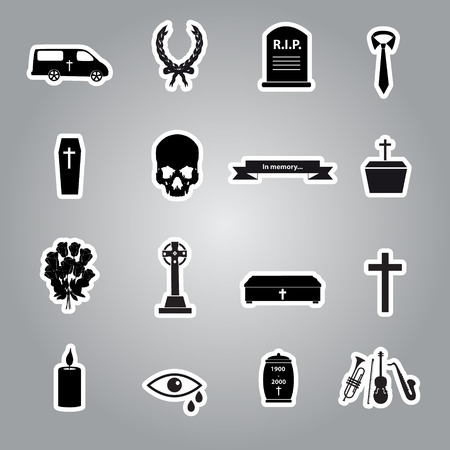 hearse: funeral stickers set Illustration