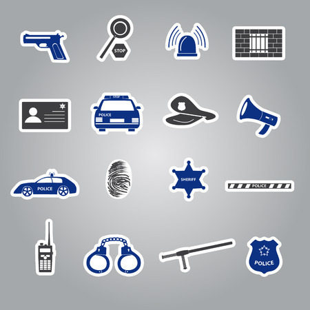 police stickers set Vector