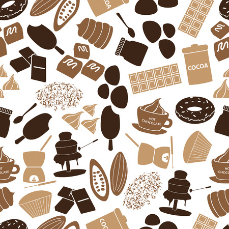 fondue: chocolate icons seamless color pattern
