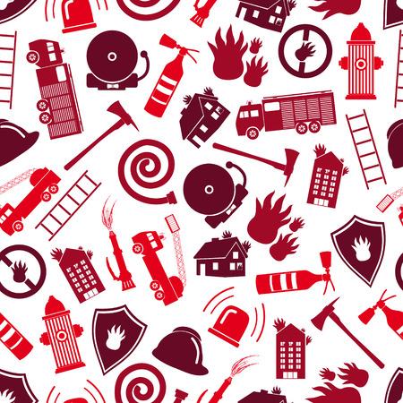 소방대 붉은 색 원활한 패턴