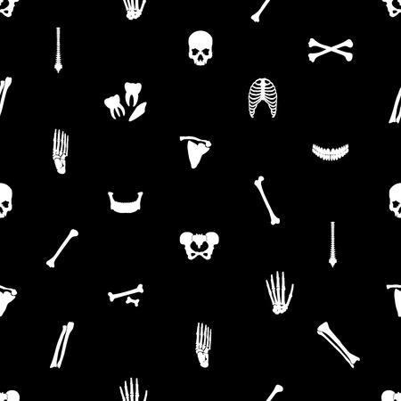 ribcage: human bones black seamless pattern