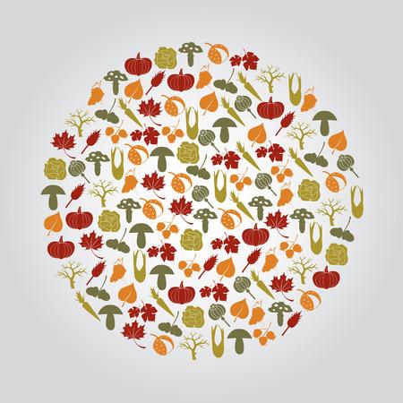 corn poppy: various autumn icons in circle