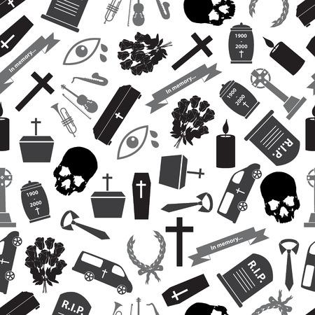 funeral icons grayscale seamless pattern Vector