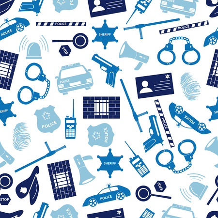 police tape: police icons blue color seamless pattern Illustration
