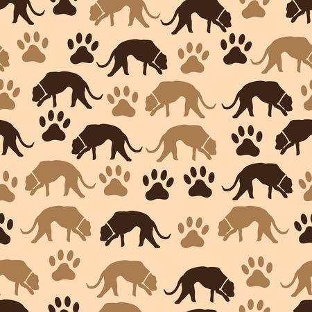 mamal: dog and footprint seamless pattern Illustration