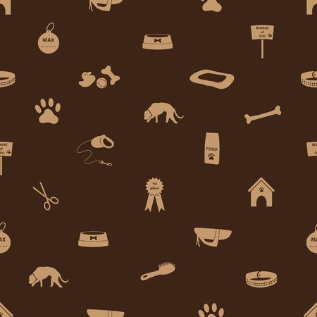 dog icons seamless brown pattern