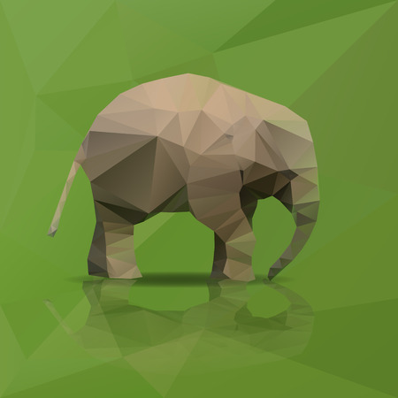 little elephant from triangles walking Vector