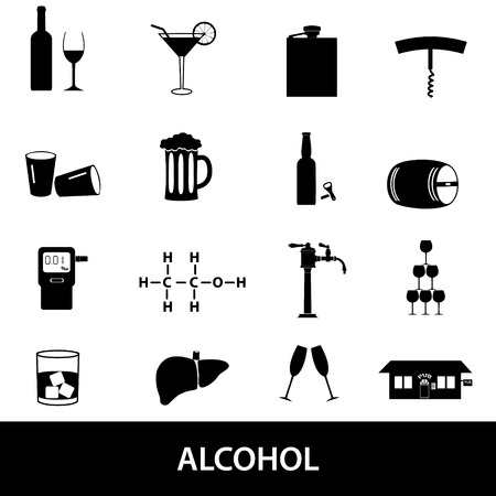 intoxicant: alcohol icons set