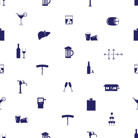 alcohol drinks icons seamless pattern