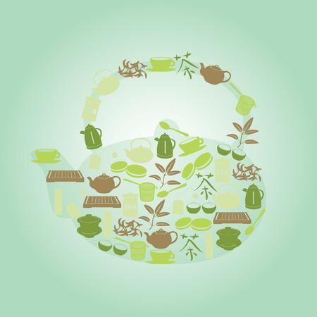 watter: green tea icons in teapot shape
