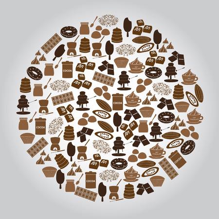초콜릿 갈색 아이콘 원 설정 일러스트