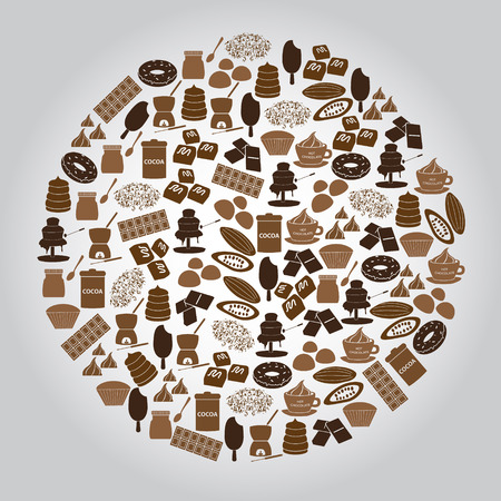 fondue: chocolate brown icons set in circle