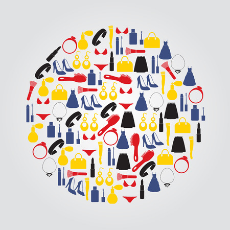 lady stuff needs color icons set in circle Vector