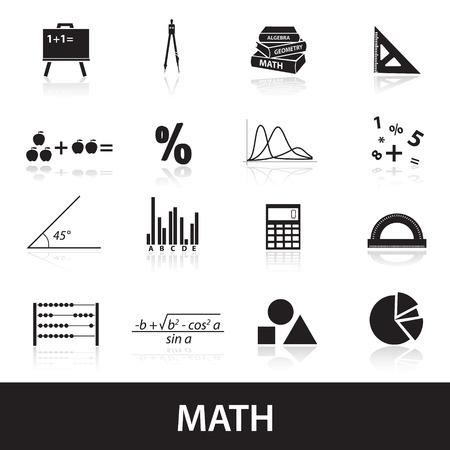 mathematics icons set Illustration