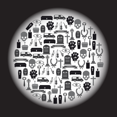 funeral icons set in circle Vector