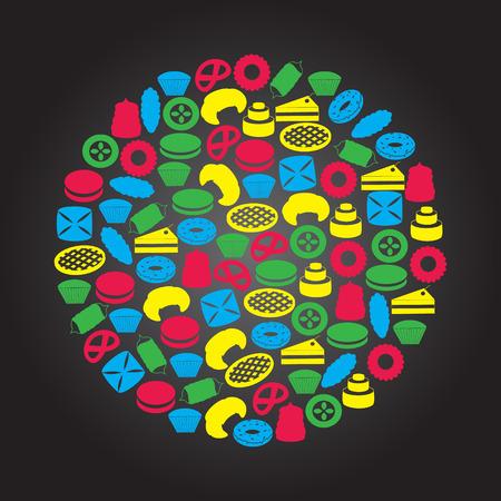bułka maślana: słodkie desery kolorowe ikony w okręgu Ilustracja