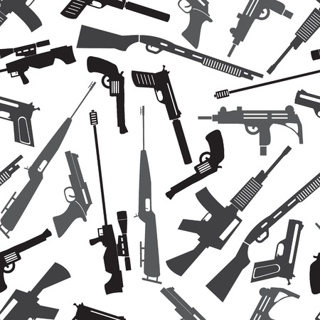 firearms weapons and guns seamless pattern Vector