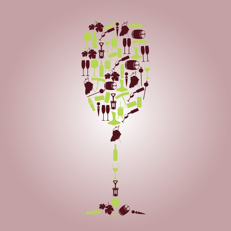 wine icons like a glass Vector