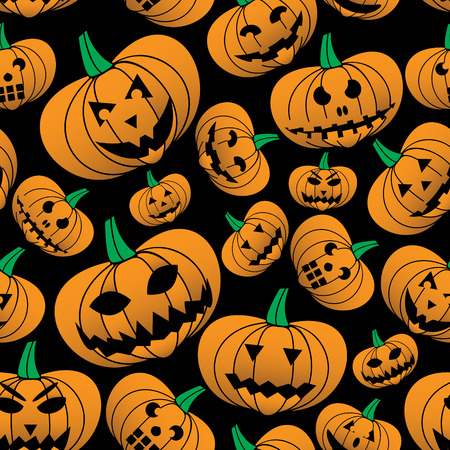 carved pumpkin: orange halloween carved pumpkin seamless pattern eps10