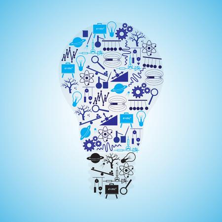 electrics: physics icons set in bulb shape eps10