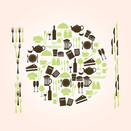 salt free: restaurant and pub icons plate shape eps10