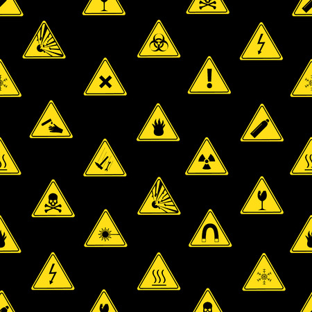 danger signs types seamless pattern eps10 Vector