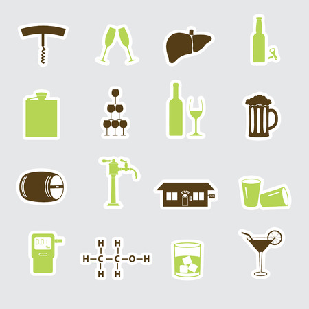 intoxicant: alcohol stickers set eps10