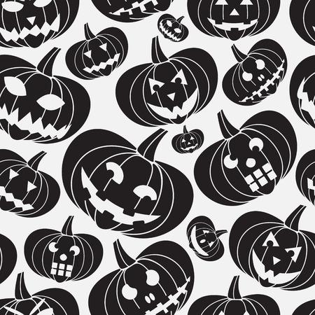 carved pumpkin: black halloween carved pumpkin seamless pattern eps10