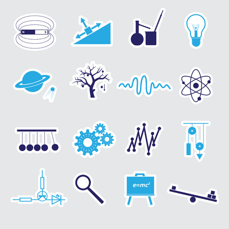 physics stickers set eps10 Vector